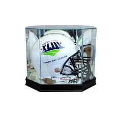Octagon Full Size Football Helmet Display Case with Sport Moulding #footballhelmet #football #helmet #NFL #collection #memorabilia #collectible #team #display #displaycase #PerfectCases