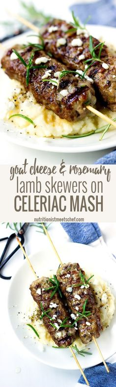 Goat cheese Rosemary Lamb Skewers on Celeriac Mash, drizzled with a little bit…