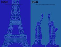 Paris vs New York - Minimalist Comparison by Vahram Muratyan