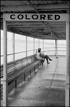 "Ferry, Mississippi River, 1964. ""Jim Crow must go"" read the signs. It took an awful lot of courage, and the willingness to get up every day and expose yourself to the possibility of beatings and death. But they persevered...and Barack Obama is now president of the United States."