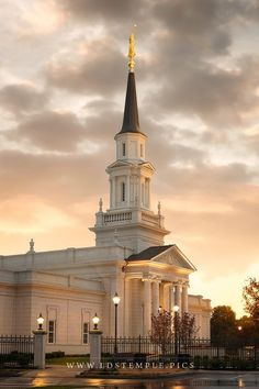 Hartford Temple Radiance - The warm radiating glow of the setting sun at the Hartford Connecticut Temple.