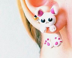 Kawaii white rabbit, animal fake gauge,clinging earrings, fake piercing, two part earrings, unique halloween, fake tunnels, fake expanders