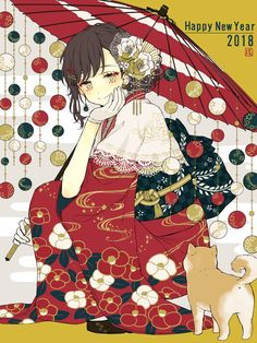 Anime picture original akakura single tall image blush short hair fringe smile holding full body japanese clothes traditional clothes wide sleeves looking down floral print squat new year hand on cheek happy new year 2018 570434 en Anime Chibi, Kawaii Anime, Loli Kawaii, Chica Anime Manga, Anime Kimono, Anime Art Girl, Manga Girl, Anime Girls, Anime Style
