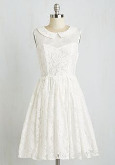 Refreshing Reception Dress. After a special ceremony in this lacy, ModCloth-exclusive dress, your reception promises continued delight! #gold #prom #modcloth