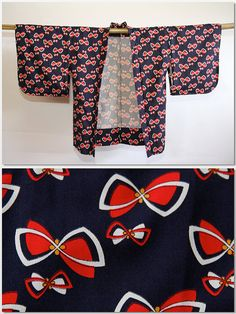 Red bows and Butterflies Japanese vintage navy blue by CJSTonbo, $45.00