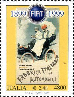 1999 - Centenario della fondazione della Fiat - manifesto realizzato nel 1899 da Giovanbattista Carpanetto raffigurante la 3½ Hp