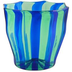 Campbell-rey Octagonal Striped Tumbler In Green And Blue Murano Glass ($137) ❤ liked on Polyvore featuring home, kitchen & dining, drinkware, glass, green, blue glassware, blue tumbler, blue drinkware, colored glassware and green tumblers