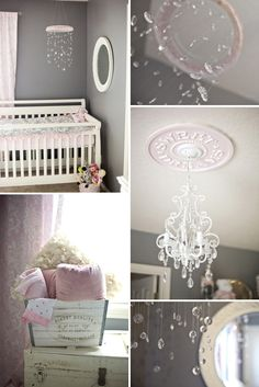Oh my word....the details.....  Shabby chic nursery in pink and gray
