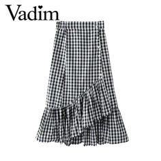Women sweet ruffles plaid split skirts with lining elastic waist buttons ladies  fashion casual mid-calf skirt BSQ555 c2b3e6fda8cf