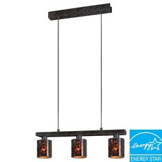 The Troya 3-Light Hanging Light features an island style design with stunning, handmade mosaic glass shades framed by an antique brown finish. This unique fixture makes a beautiful display over your kitchen island or dining table. It's ENERGY STAR qualified for efficient energy usage. It also includes cuttable hanging wires that make height adjustments quick and easy.