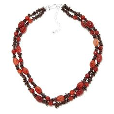 Jay King Carnelian and Garnet Beaded Necklace