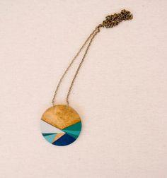 Geometric hand painted pendant  blue aqua green  by vickygonart, $24.00