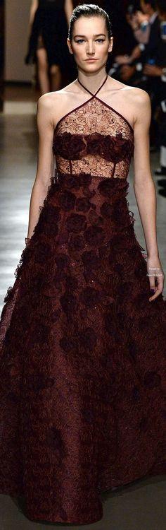 209945603b Oscar de la Renta Collections Fall Winter 2015-16 collection Burgundy  Fashion