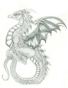 dragon sitting on tail by jessiesdragons.deviantart.com on @DeviantArt