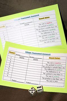 Integer tournament using dice and this scorecard
