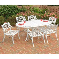 Home Styles Biscayne 72 in. Patio Dining Set - Seats 6 by Home Styles. $1280.99. The Home Styles Biscayne 72 in. Patio Dining Set - Seats 6 is perfect for backyard barbecues, pool parties, and casual weekday dinners. Made of cast aluminum, this set is durable, weather-resistant, and beautifully designed in a traditional style. It includes a spacious dining table and six chairs with generously sized seats and comfortable armrests. It features a UV-resistant, powde...
