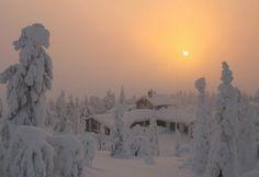 Un paisaje con nieve, Finlandia.