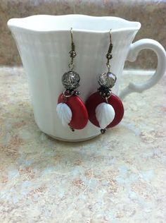 Red with white leaf fish hook style earrings. by ReadyByDawn, $12.50
