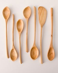 handcarved wooden spoons, cherry wood.