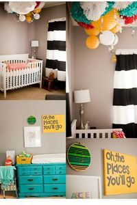 Dr. Suess room that isn't all primary colors - black, white, teal, yellow