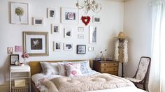 Floral country bedroom with photographic feature wall