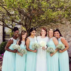 David's Bridal bridesmaids in long illusion sweetheart neckline mint David's Bridal bridesmaid dresses Photo by @_shacar