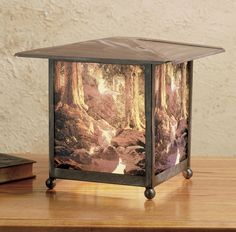 Description: Highlighted in our famed Maxfield Parrish MuseumCollection, an exquisite fused image of The Glen isfeatured on this lovely lantern finished in AntiqueCopper. Re-creates Maxfield Parrish™s