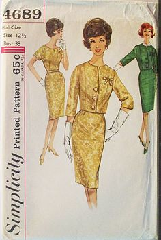 1960s Vintage Sewing Pattern Simplicity 4689 Misses One-Piece Dress & Jacket Pattern Size 12 1/2 Bust 33 by SewYesterdayPatterns on Etsy