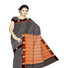 UNM4097-Lovely corporate black Pure Narayanpet cotton plain weaving saree with blouse