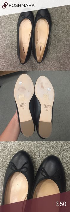 J Crew Kiki Italian leather ballet flats black 7.5 Black leather J Crew Kiki flats. Purchased for $80 at warehouse sale, retail $148. These are authentic J Crew, not J crew factory. Italian leather, size 7.5 narrow. NEVER WORN, only tried on. J. Crew Shoes Flats & Loafers