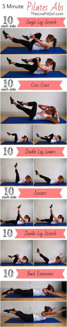 5 Minute Pilates Abs fitness workout exercise ab exercises workout tips Pilates Abs, Pilates Training, Pilates Fitness, Sport Fitness, Fitness Diet, Fitness Motivation, Health Fitness, Workout Fitness, Fitness Pal
