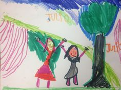 A marker drawing of two girls and a tree, from ArtMyKidMade.com #drawing #kidsart