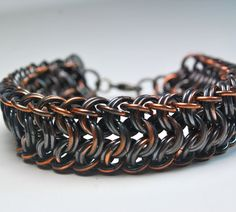 Copper Chainmaille Bracelet  Aragon Weave  by UrbanJule on Etsy, $75.00