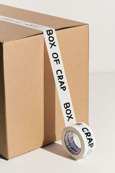Shop David Shrigley Box Of Crap Packing Tape at Urban Outfitters today. E Commerce, Envelopes, Box Packaging, Print Packaging, Packaging Design Inspiration, Box Design, Party Supplies, Branding Design, Tape