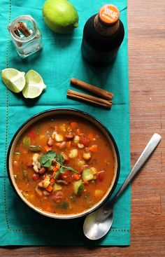 Healthy Vegetarian Posole with Pinto Beans and Poblano Peppers Recipe