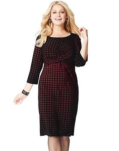 Share us with your friends! Just My Size Twist-Front Dress — Black/Wine Ombré Check Print