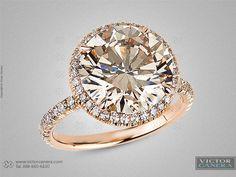 Victor Canera, champagne diamond, rose gold halo setting