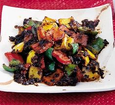 Peppers with black beans Bbc Good Food Recipes, Veggie Recipes, Asian Recipes, Vegetarian Recipes, Healthy Recipes, Veggie Meals, Asian Foods, Chinese Recipes, Healthy Cooking