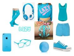 """""""Lazy Blue"""" by jmp-123 ❤ liked on Polyvore featuring Thakoon Addition, Lazy Oaf, Wildfox, Eos and Beats by Dr. Dre"""