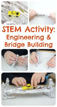 Engineering Activities for Children - build a bridge with foil