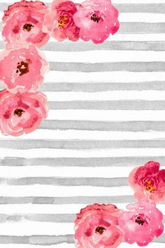 Blank wallpaper for printing free phone wallpaper background cute gray and white watercolor stripes with pink floral blank wallpaper for printing Blank Wallpaper, Pink And Grey Wallpaper, Free Phone Wallpaper, Flower Wallpaper, Mobile Wallpaper, Wallpaper Backgrounds, Vintage Backgrounds, Iphone Backgrounds, Iphone Wallpapers