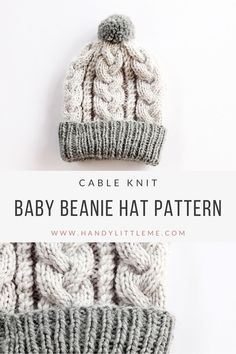 Make a baby beanie hat with this free pattern. The baby beanie has an intricate cable design that uses basic cable stitches to create. hat for toddlers Baby Beanie Hat Pattern {Cable Knit} Baby Hat Knitting Patterns Free, Beanie Pattern Free, Baby Hat Patterns, Baby Hats Knitting, Free Pattern, Free Knitting, Knitting Toys, Finger Knitting, Scarf Patterns