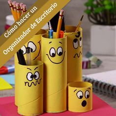 Cómo hacer un organizador de escritorio infantil para niños Diy Bottle, Bottle Crafts, Diy Home Crafts, Easy Crafts, Toilet Paper Roll Crafts, Paper Crafts, Crafts For Teens, Diy For Kids, Arts And Crafts Storage