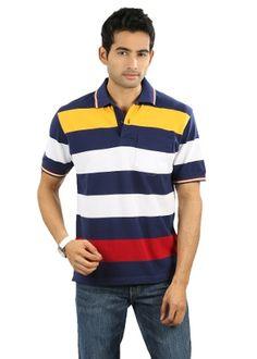 W & T Men's Polo T-shirt - Blue & White  I really like this shirt.