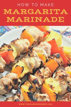 If you love Mexican flavors or a traditional fajita recipe then you'll love this Chicken Margarita Marinade recipe. We made these easy and delicious Grilled Margarita Chicken Kabobs on the grill with yummy and tender chicken, red and yellow peppers, and chunks of pineapple! This chicken marinade recipe is so easy with just a few ingredients and LOADS of flavor! Chicken Marinade Recipes, Fajita Recipe, Chicken Marinades, Margarita Chicken, How To Make Margaritas, Good Food, Yummy Food, Chicken Kabobs, Chefs
