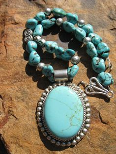 Sterling Silver Turquoise Medallion Necklace  by fleurdesignz