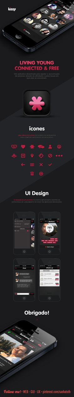 Kissy: Living young connected & free by Diogo Rodrigues, via Behance *** #app #gui #ui #behance