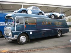Jaguar D-Type, Austin Healey Sprite and Ecurie Ecosse Transporter.