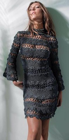 Fabulous Crochet a Little Black Crochet Dress Ideas. Georgeous Crochet a Little Black Crochet Dress Ideas. Mode Crochet, Crochet Lace, Crochet Skirts, Crochet Clothes, Clothing Patterns, Dress Patterns, Knit Dress, Dress Skirt, Crochet Woman