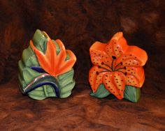 Ceramic Bird of Paradise Salt & Pepper Shakers; Vintage; Set of 2 by MaltKilnCottage on Etsy